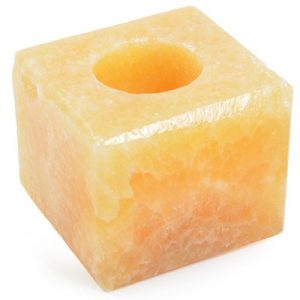 Large orange calcite candle holder