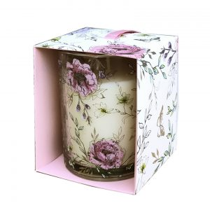 Floral Scented Candle Pot In Pink Gift Box - Peony Blossom