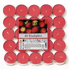 Pack of 25 Aladino Collection Strawberry Tealights