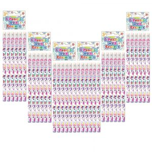 6x6 Unicorn Pencil with Eraser Kid Girl Loot Pink Gift School Stationery