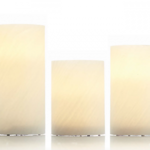 3pc Authentic Flame Wax Flickering LED Square Candle Lights