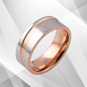Flat Shaped 7mm Titanium Engagement Band Ring 18Ct Rose And White Gold